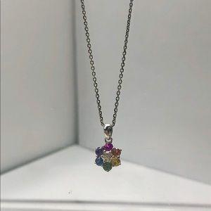 Jewelry - 18KT W Gold Diamond, Sapphire and Topaz Necklace